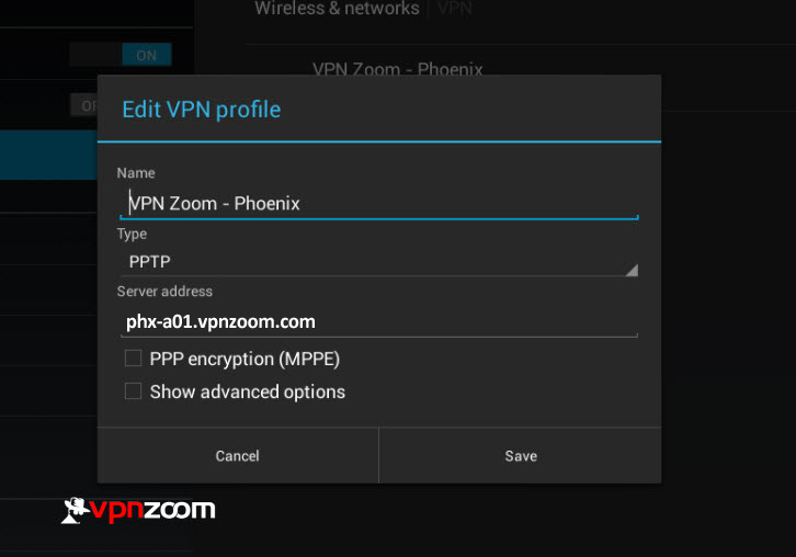 Android VPN PPTP Setup Step Five